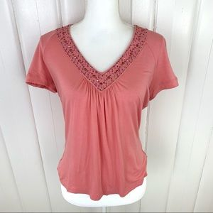 St. John: Short sleeve v-neck rhinestone top